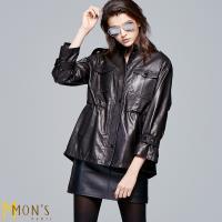 MONS 專櫃精品100%綿羊皮長版收腰皮外套