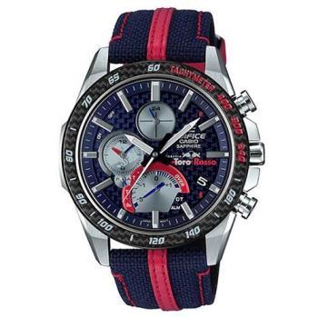 【CASIO】EDIFICE  藍寶石鏡面藍牙太陽能Toro Rosso賽車錶-藍(EQB-1000TR-2A)