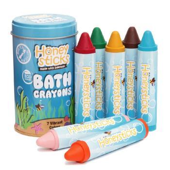 【壽滿趣-Honey Sticks】純天然蜂蠟無毒浴室可水洗蠟筆(7色)