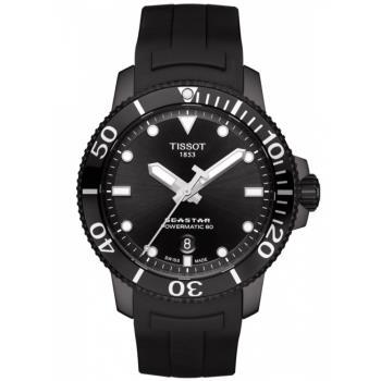 TISSOT 天梭 Seastar 1000海洋之星300米潛水機械錶/黑/43mm/T1204073705100