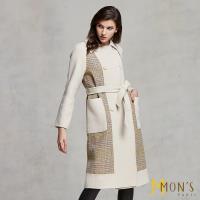 MONS 歐系格紋氣質款喀什米爾羊毛長版外套