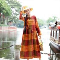 【維拉森林】氣質文藝棉麻格紋洋裝M-2XL(共四色)