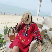 【維拉森林】復古民族風V領流蘇編織刺繡洋裝S-XL(共二色)