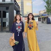 【維拉森林】異國文藝民族風刺繡寬鬆度假連衣裙S-XL(共三色)