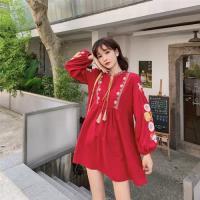 【維拉森林】民族風寬鬆燈籠袖棉麻刺繡娃娃衫連衣裙-F(共二色)