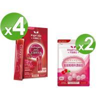 【Angel LaLa天使娜拉】紅灩蛋白聚醣膠原凍-白藜蘆醇Plus 4盒+蔓越莓精萃濃縮錠2包
