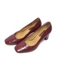 【M2nd】高級鱷魚皮訂製款-歐美小方頭高跟鞋(葡萄酒紅)(37號)