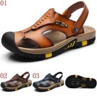 JHS杰恆社ylw37夏季男士真皮涼鞋防滑戶外運動休閒兩用包頭沙灘涼拖鞋 預購