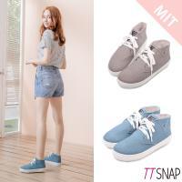 TTSNAP休閒鞋-MIT細緻水洗帆布綁帶厚底鞋 灰/藍