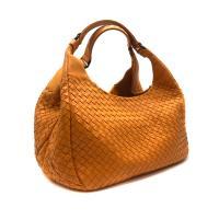 【BOTTEGA VENETA】展示品 編織羊皮Campana 肩背包-小(亮橘)