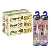 韓國2080 有機蘋果兒童牙膏(100gX6入)+兒童抗菌牙刷x2入(第一~第四階段年齡6月~8歲以上 4款可選)