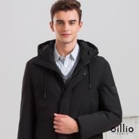 oillio歐洲貴族 男裝 加大加長 防潑水抗污 保暖羽絨 輕量休閒外套 羽絨80%含量 三層工藝裏布 不跑絨 輕鬆好穿搭 黑色-男款 較長版