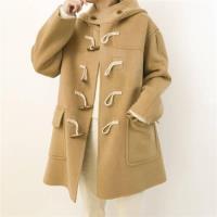 【米蘭精品】毛呢大衣羊毛外套-短版寬鬆連帽牛角扣女外套2色73wb48