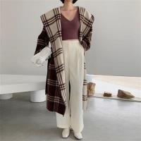 【米蘭精品】毛呢大衣羊毛外套-雙面穿拼色格紋連帽女外套73wb23