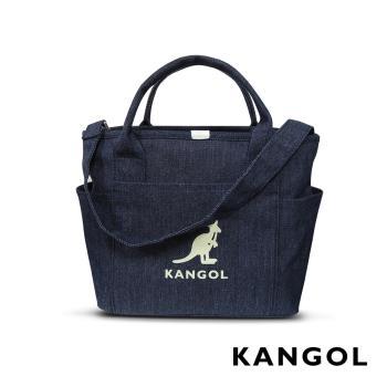 KANGOL 韓版玩色-帆布手提/斜背托特包-牛仔深藍 AKG1216
