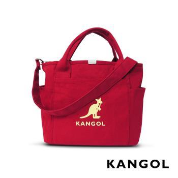 KANGOL 韓版玩色-帆布手提/斜背托特包-棗紅 AKG1216