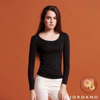 GIORDANO  女款Beau-warmer plus+彈力舒適圓領極暖衣-08 標誌黑
