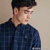 GIORDANO 男裝四季百搭刺繡彈力牛津紡襯衫-80 海軍藍/白格紋