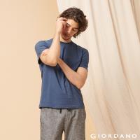 GIORDANO 男裝百搭素色圓領T恤-43 雪花靛紫藍
