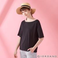 GIORDANO 女裝垂墜風船領短袖T恤-09 標誌黑色