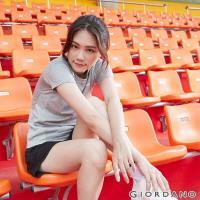 GIORDANO  女裝運動系列吸濕排汗拼接款短袖T恤-01 花紗鯊魚灰
