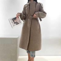 【米蘭精品】毛呢大衣羊毛外套-長版駝色繫帶兔子領女外套73wb11