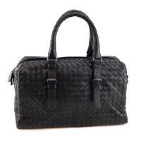 BOTTEGA VENETA 黑色編織羊皮手提肩背兩用波士頓包