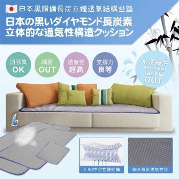 【qmodern Q之夢】日本備長炭-4D透氣沙發墊坐墊 椅墊/沙發墊(55*55CM-單人坐墊)