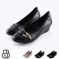 【88%】包鞋-乳膠鞋墊 跟高5cm 水鑽鞋頭造型 純色簡約 楔型鞋 MIT台灣製