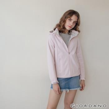 GIORDANO 女裝Softshell 三合一高機能炫彩刺繡連帽外套-87 淡紫色