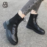【88%】休閒鞋-編織拼接皮質鞋面 率性簡約款 繫帶短靴 英倫風馬丁靴