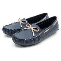 【 101大尺碼女鞋】MIT手工縫線舒適平底豆豆樂福鞋-大尺碼系列-藍色-089102229-89