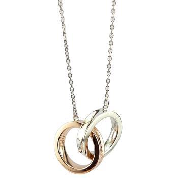 TIFFANY 1837系列-Rubedo金屬混搭純銀雙戒環墜飾項鍊