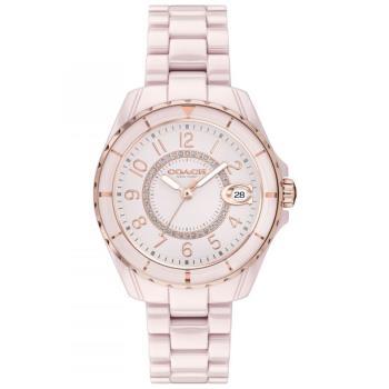 COACH 小香款奢華晶鑽陶瓷腕錶/粉/32mm/CO14503463