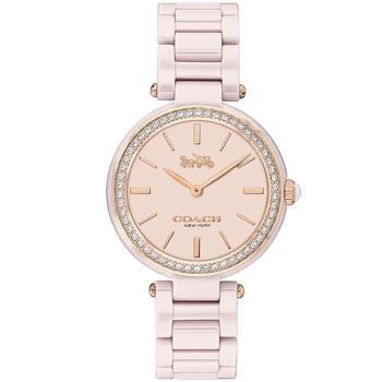 COACH 經典摩登馬車晶鑽陶瓷腕錶/粉/30mm/CO14503452