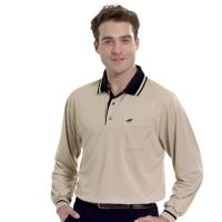 【Londa Polo】吸濕排汗男版長袖POLO衫PK5062駝色
