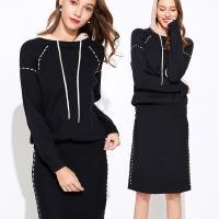 麗質達人 - 9096黑色連帽上衣+裙子