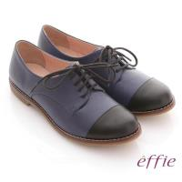 effie 街頭玩味 全真皮雙色拼接牛津鞋- 藍