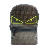 【FENDI】釉面緹花 FF logo 螢光眼後背包(8BZ040-咖)