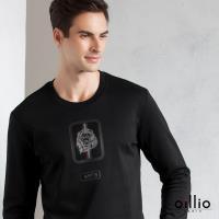 oillio歐洲貴族 男裝 特色獅質感印花 舒適自然棉 萊卡彈性 吸濕不悶熱 細膩觸感 長袖T恤 黑色-男款 低調奢華 縮口下擺