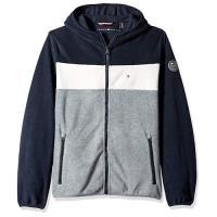 Tommy Hilfiger 2019男時尚抓絨深藍白灰色塊連帽外套