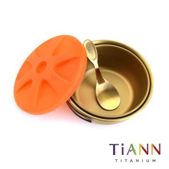【TiANN 鈦安純鈦餐具】三件純鈦保鮮圓盒套組/便當盒/碗組_500ml+400ml+小湯匙 (含500ml矽膠蓋)