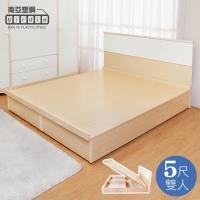 Birdie南亞塑鋼-5尺雙人塑鋼床組(床頭片+掀床底)(白橡色+白色)