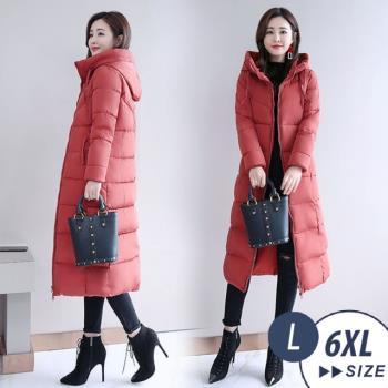 【LANNI 藍尼】冬季戀連帽長版羽絨棉外套-4色(L-6XL 版型偏小)