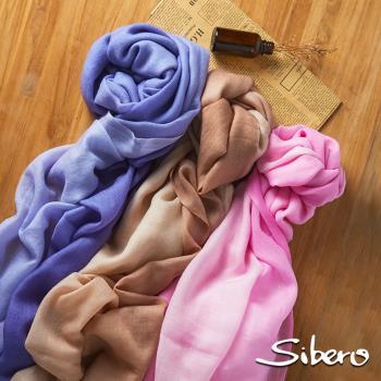 【Sibero】100% Shamina 喀什米爾羊毛奢華漸層圍巾披肩(柔美版 專櫃精品 柔軟富彈性)