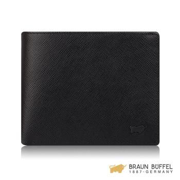 BRAUN BUFFEL 洛菲諾P-II系列12卡中間翻透明窗皮夾 -經典黑 BF347-317-BK