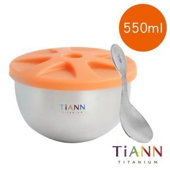 【TiANN 鈦安純鈦餐具】鈦碗 純鈦雙層 鈦碗含蓋+小湯匙