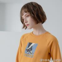 GIORDANO 女款 Retro Wave復古印花大學T恤-21 向日葵黃