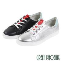 GREEN PHOENIX 國際精品撞色織帶綁帶日本小牛皮平底休閒鞋U28-2F201