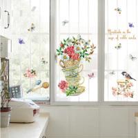【半島良品】DIY無痕創意牆貼/壁貼-彩繪花朵杯子盆栽 SK7114中